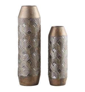 Bronze Geometrical Vases,Set of 2