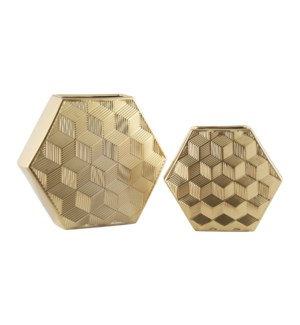 Gold Geometrical Vases,Set of 2