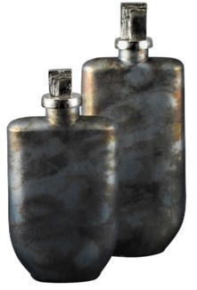 Finley Bottles with Textured Stoppers,Set of 2