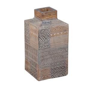 Taos Medium Carved Square Vase