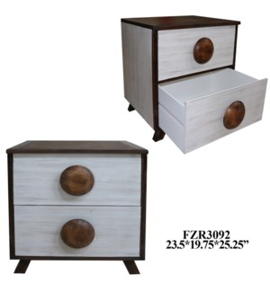 "23.5X19.5X25.25"" WOODEN CABINET W/2 DRAWERS, 1PC PK/ 8.01'"