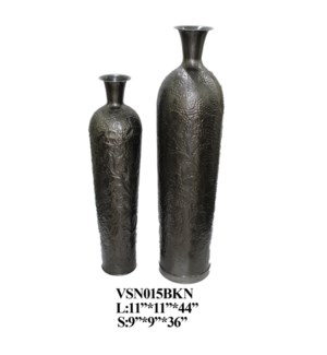SET OF 2 FLOWER VASE BLACK NICKEL,1 SET PK/ 3.75'