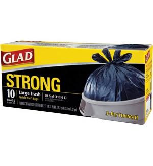 GLAD TRASH BAG STRONG 10 CT 30 GAL