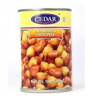 CEDAR FAVA & CHICK PEAS 15OZ
