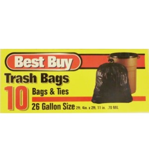 BEST BUY TRASH BAG 10CT 26GAL