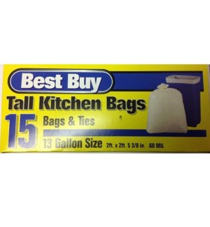 BEST BUY TALL KITCHEN BAGS 13 GAL 15 CT