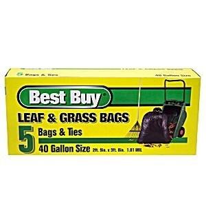 BEST BUY LEAF & GRASS BAGS 40 GAL 5 CT