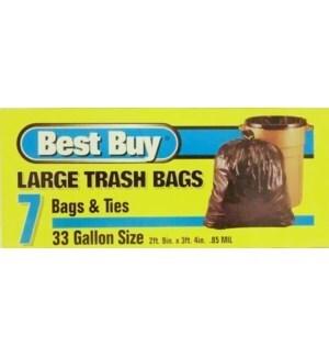 BEST BUY LARGE TRASH BAGS(BLUE) 33 GAL 7 CT
