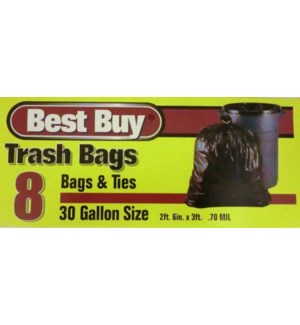 BEST BUY TRASH BAGS(BROWN) 30 GAL 8 CT