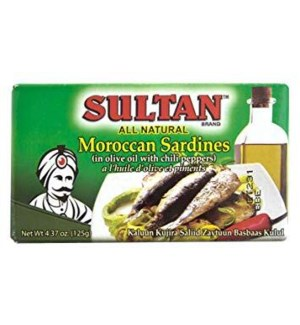 SULTAN SARDINES IN OLIVE OIL AND CHILLI PEPPERS(GREEN) 4.37OZ