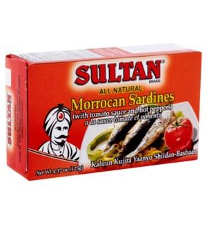 SULTAN SARDINES IN TOMATO SAUCE HOT(RED) 4.37OZ