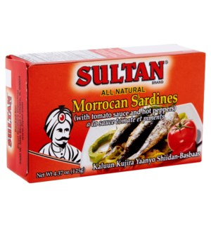 SULTAN SARDINES IN TOMATO SAUCE HOT(RED) 4.37OZ