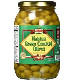 ZIYAD NABLUS GREEN CRACKED OLIVES 48OZ