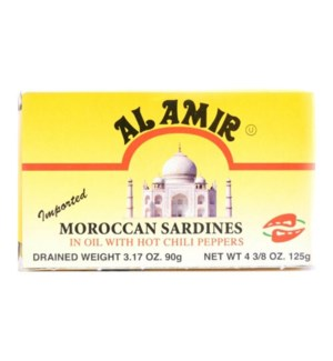 AL AMIR HOT MOROCCAN SARDINES 4.5OZ YELLOW