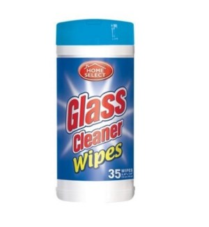 HOME SELECT CANISTER WIPES GLASS 35CT