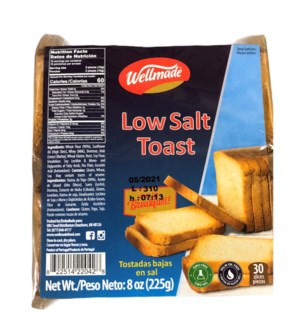 WELLMADE TOAST LOW SALT 225 G