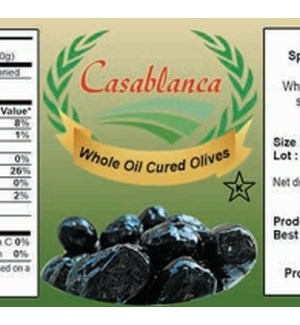 CASABLANCA WHOLE OIL CURED BLACK OLIVES 500 g