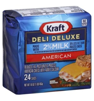 KRAFT DELUXE AMERICAN CHEESE 2% MILK 24S