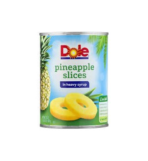 DOLE PINEAPPLE SLICES IN HEAVY SYRUP 20OZ