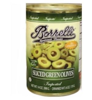 BORRELLI OLIVES GREEN SLICED 14 OZ