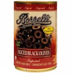 BORRELLI OLIVES BLACK SLICED 6 OZ