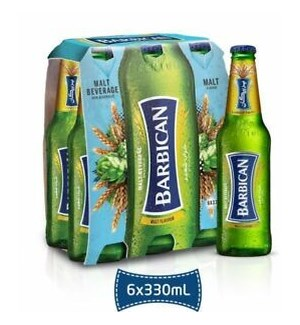 BARBICAN MALT DRINK PLAIN 6 PK NON ALCOHOLIC