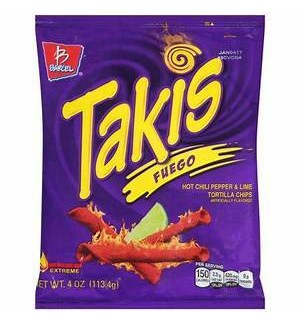 BARCEL CHIPS TAKIS FUEGO HOT CHILI&LIME 4 OZ