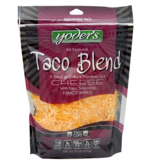 YODERS TACO BLEND FANCY SHRED CHEESE 8OZ