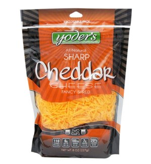 YODERS CHEESE SHRED FANCY SHARP 8OZ