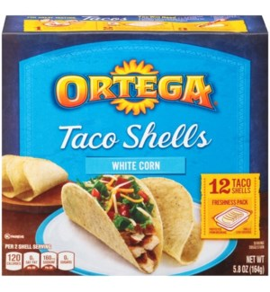 ORTEGA WHITE CORN TACO SHELLS 12CT