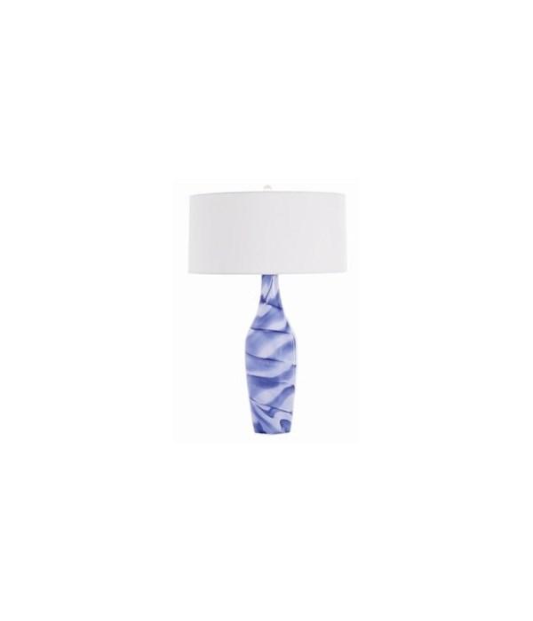 Callista Blue, White Swirl Glass Lamp