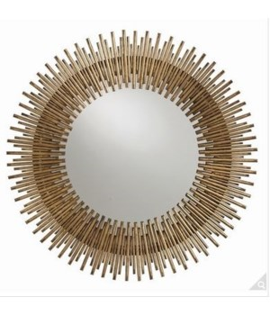 Prescott Antiqued Gold Leaf Round Iron Mirror