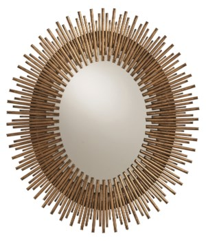 Prescott Small Antiqued Gold Leaf Oval Mirror