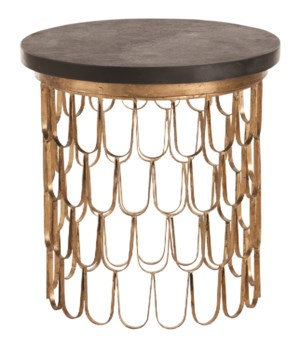 Orleans Gold Leaf Iron/Marble End Table