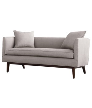 Mustique Settee, Oatmeal Linen, Dark Walnut, Feather