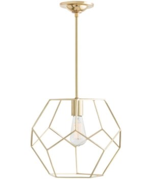 Mara Small Pendant, Polished Brass