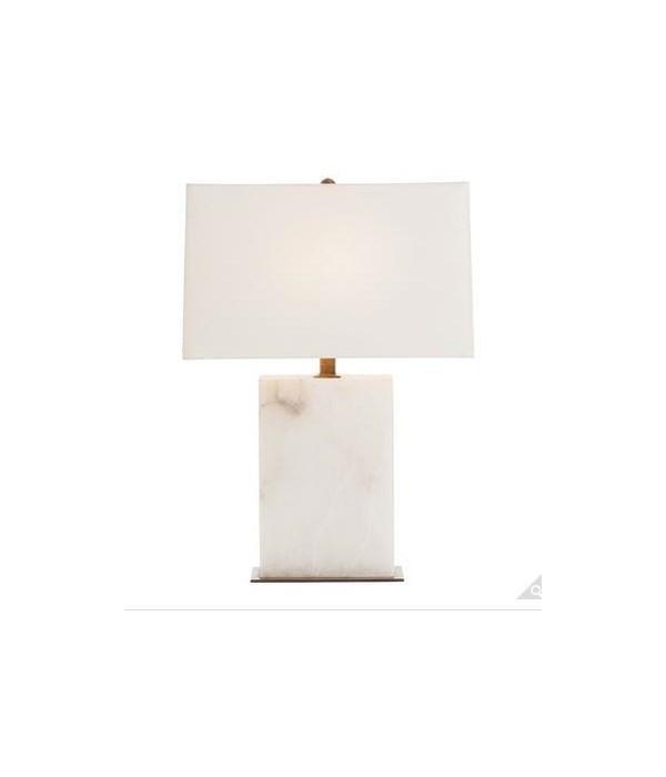 Carson Rectangular Snow Marble/Vintage Brass Lamp