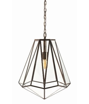 Edmond Brass, Glass Hexagon Pendant
