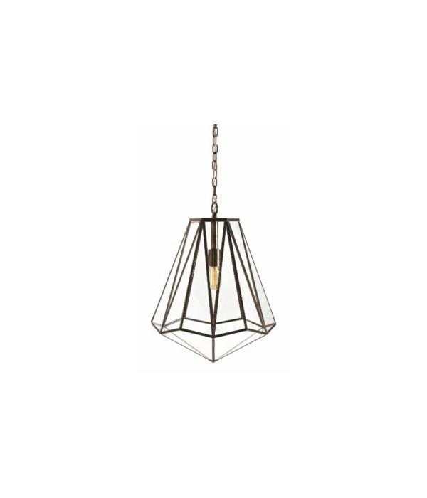 Edmond Brass, Glass Hexagon Pendant