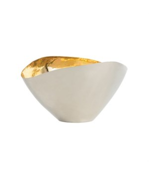 Millicent Small Centerpiece, Polished Nickel, Polished Brass Interior