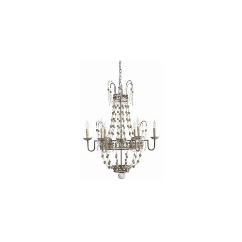 Versailles Small 6L Iron/Smoke Glass Chandelier