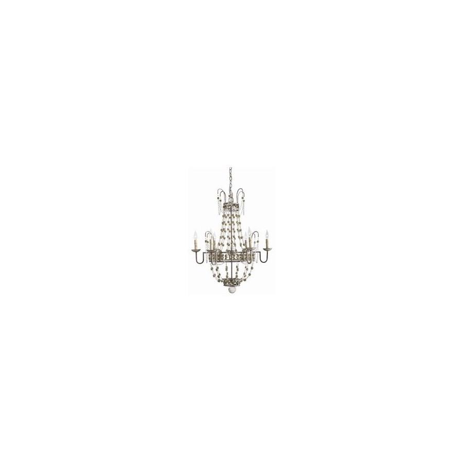Versailles Small 6L Iron/Smoke Glass Chandelier