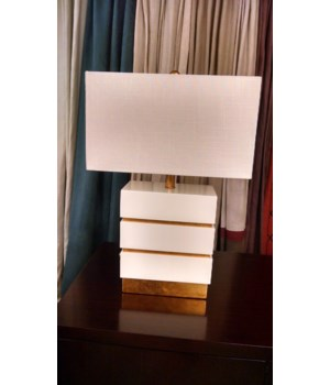 Simeon Table Lamp, Gloss White