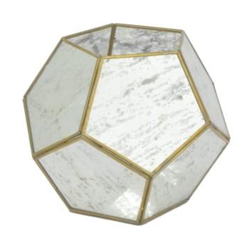 "Brass Lantern w Antique Glass, 8.5"""