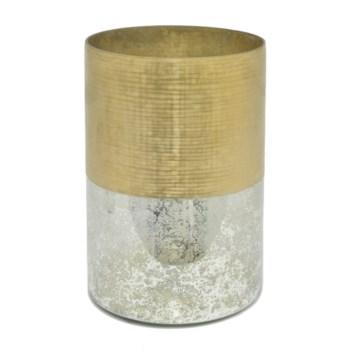 "Mercury Glass Hurricane, Gold, 12.25"""