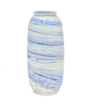 "Ivory/Blue Ceramic Vase, 14"""