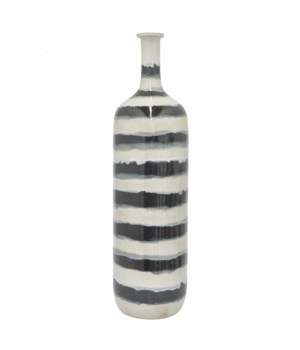 Ceramic Vase, Grey and White, 24.5""