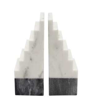 Black and White Marble Bookends, Pair
