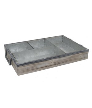 Wood Tray With Metal Inserts
