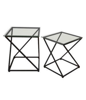 Black Accent Tables, S/2